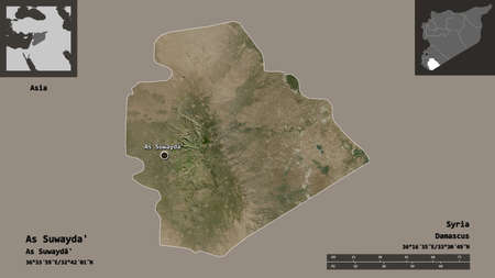 Shape of As Suwayda', province of Syria, and its capital. Distance scale, previews and labels. Satellite imagery. 3D rendering