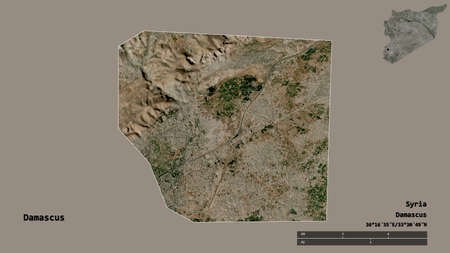 Shape of Damascus, province of Syria, with its capital isolated on solid background. Distance scale, region preview and labels. Satellite imagery. 3D rendering