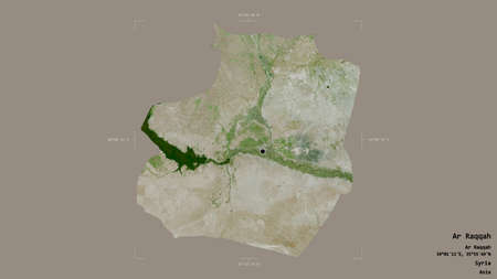 Area of Ar Raqqah, province of Syria, isolated on a solid background in a georeferenced bounding box. Labels. Satellite imagery. 3D rendering