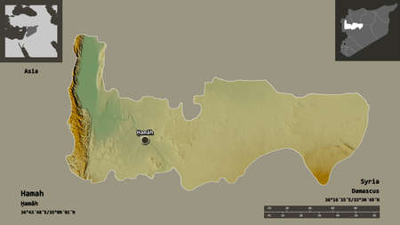 Shape of Hamah, province of Syria, and its capital. Distance scale, previews and labels. Topographic relief map. 3D rendering