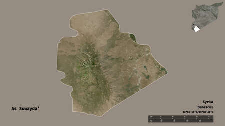 Shape of As Suwayda', province of Syria, with its capital isolated on solid background. Distance scale, region preview and labels. Satellite imagery. 3D rendering Banco de Imagens