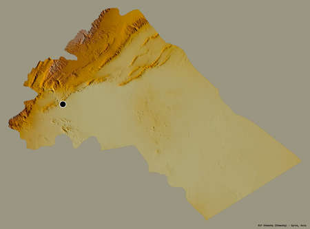 Shape of Rif Dimashq, province of Syria, with its capital isolated on a solid color background. Topographic relief map. 3D rendering