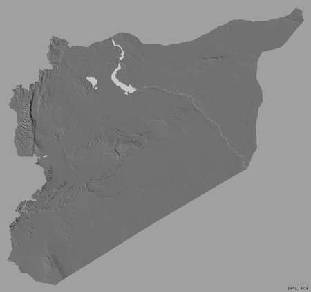 Shape of Syria with its capital isolated on a solid color background. Bilevel elevation map. 3D rendering