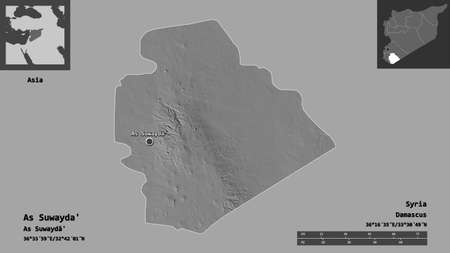 Shape of As Suwayda', province of Syria, and its capital. Distance scale, previews and labels. Bilevel elevation map. 3D rendering