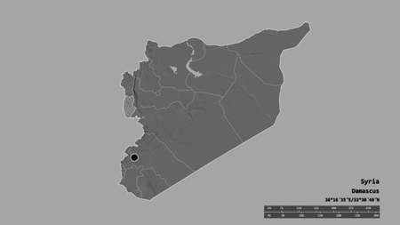 Desaturated shape of Syria with its capital, main regional division and the separated Tartus area. Labels. Bilevel elevation map. 3D rendering Stock Photo