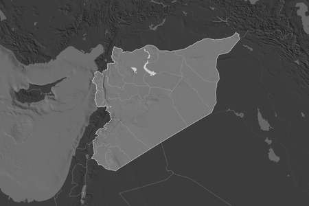 Shape of Syria separated by the desaturation of neighboring areas. Borders. Bilevel elevation map. 3D rendering