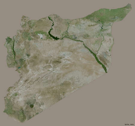 Shape of Syria with its capital isolated on a solid color background. Satellite imagery. 3D rendering Stock Photo