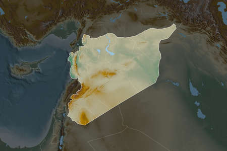 Shape of Syria separated by the desaturation of neighboring areas. Borders. Topographic relief map. 3D rendering