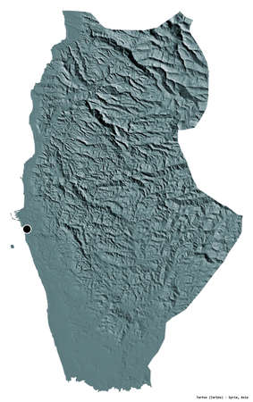 Shape of Tartus, province of Syria, with its capital isolated on white background. Colored elevation map. 3D rendering