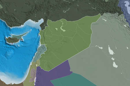 Extended area of Syria with country outline, international and regional borders. Colored elevation map. 3D rendering Stockfoto