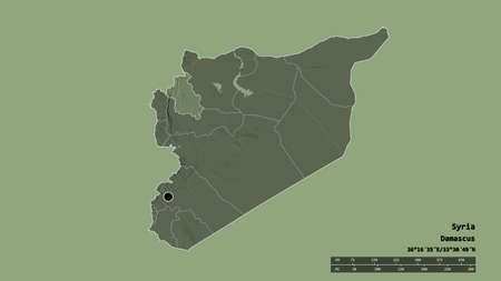 Desaturated shape of Syria with its capital, main regional division and the separated Idlib area. Labels. Colored elevation map. 3D rendering