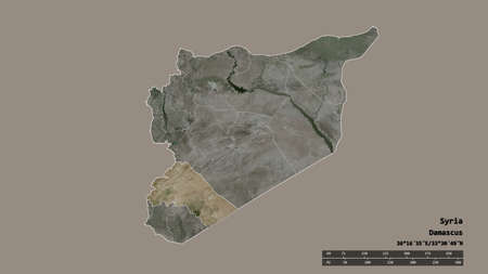 Desaturated shape of Syria with its capital, main regional division and the separated Rif Dimashq area. Labels. Satellite imagery. 3D rendering