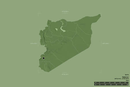 Area of Syria isolated on a solid background in a georeferenced bounding box. Main regional division, distance scale, labels. Colored elevation map. 3D rendering Stockfoto