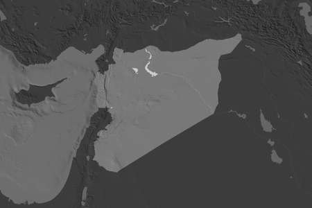 Shape of Syria separated by the desaturation of neighboring areas. Bilevel elevation map. 3D rendering