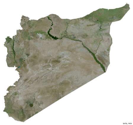 Shape of Syria with its capital isolated on white background. Satellite imagery. 3D rendering