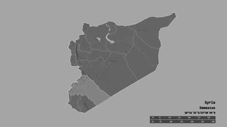Desaturated shape of Syria with its capital, main regional division and the separated Rif Dimashq area. Labels. Bilevel elevation map. 3D rendering Banco de Imagens