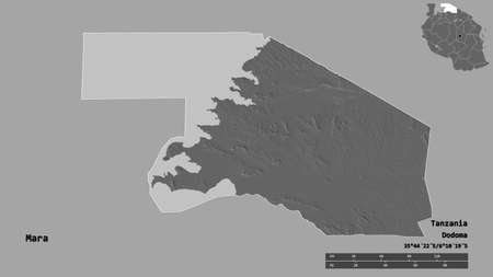 Shape of Mara, region of Tanzania, with its capital isolated on solid background. Distance scale, region preview and labels. Bilevel elevation map. 3D rendering