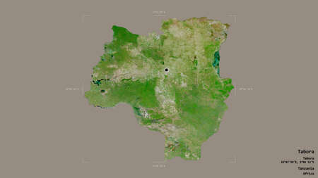 Area of Tabora, region of Tanzania, isolated on a solid background in a georeferenced bounding box. Labels. Satellite imagery. 3D rendering Stock Photo