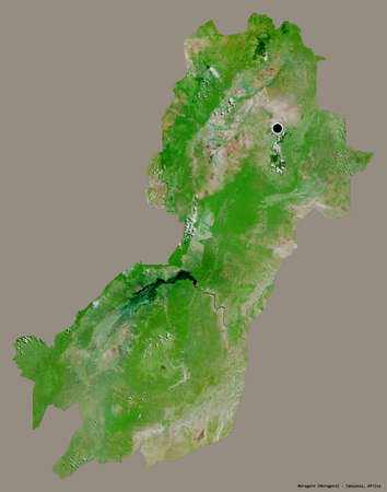 Shape of Morogoro, region of Tanzania, with its capital isolated on a solid color background. Satellite imagery. 3D rendering Stock Photo
