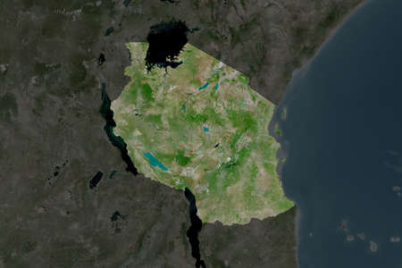 Shape of Tanzania separated by the desaturation of neighboring areas. Satellite imagery. 3D rendering Stock Photo