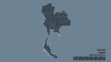 Desaturated shape of Thailand with its capital, main regional division and the separated Bueng Kan area. Labels. Colored elevation map. 3D rendering
