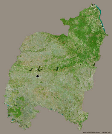 Shape of Amnat Charoen, province of Thailand, with its capital isolated on a solid color background. Satellite imagery. 3D rendering