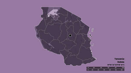 Desaturated shape of Tanzania with its capital, main regional division and the separated Mwanza area. Labels. Colored elevation map. 3D rendering Stock Photo