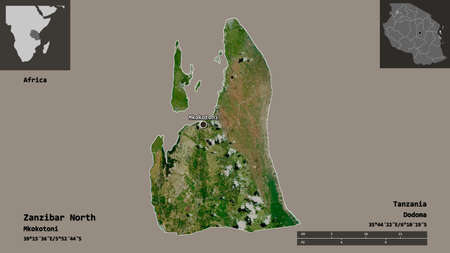 Shape of Zanzibar North, region of Tanzania, and its capital. Distance scale, previews and labels. Satellite imagery. 3D rendering