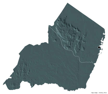 Shape of Tanga, region of Tanzania, with its capital isolated on white background. Colored elevation map. 3D rendering Stock Photo