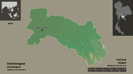 Shape of Chachoengsao, province of Thailand, and its capital. Distance scale, previews and labels. Topographic relief map. 3D rendering