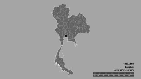 Desaturated shape of Thailand with its capital, main regional division and the separated Buri Ram area. Labels. Bilevel elevation map. 3D rendering