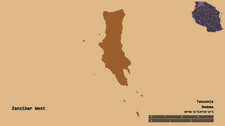 Shape of Zanzibar West, region of Tanzania, with its capital isolated on solid background. Distance scale, region preview and labels. Composition of patterned textures. 3D rendering