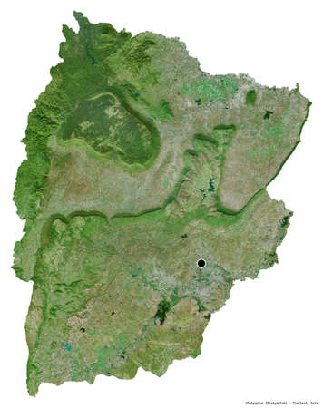 Shape of Chaiyaphum, province of Thailand, with its capital isolated on white background. Satellite imagery. 3D rendering