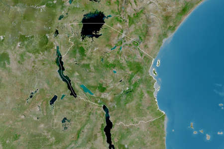 Extended area of outlined Tanzania. Satellite imagery. 3D rendering