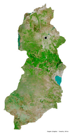 Shape of Singida, region of Tanzania, with its capital isolated on white background. Satellite imagery. 3D rendering Stock Photo