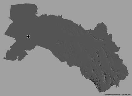 Shape of Chachoengsao, province of Thailand, with its capital isolated on a solid color background. Bilevel elevation map. 3D rendering