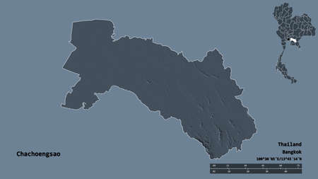 Shape of Chachoengsao, province of Thailand, with its capital isolated on solid background. Distance scale, region preview and labels. Colored elevation map. 3D rendering