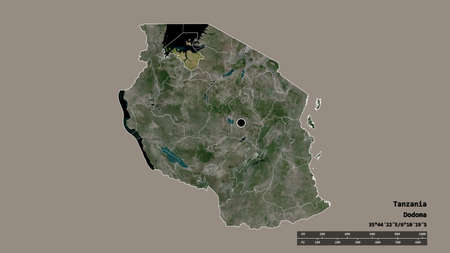 Desaturated shape of Tanzania with its capital, main regional division and the separated Mwanza area. Labels. Satellite imagery. 3D rendering