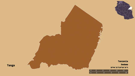 Shape of Tanga, region of Tanzania, with its capital isolated on solid background. Distance scale, region preview and labels. Composition of patterned textures. 3D rendering Stock Photo