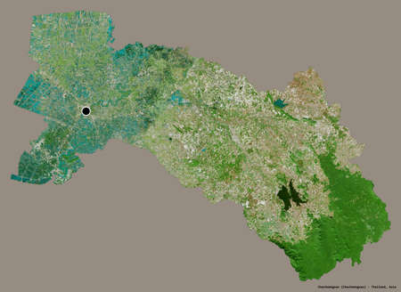 Shape of Chachoengsao, province of Thailand, with its capital isolated on a solid color background. Satellite imagery. 3D rendering