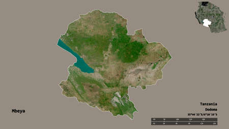 Shape of Mbeya, region of Tanzania, with its capital isolated on solid background. Distance scale, region preview and labels. Satellite imagery. 3D rendering
