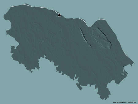Shape of Bueng Kan, province of Thailand, with its capital isolated on a solid color background. Colored elevation map. 3D rendering