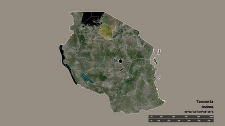 Desaturated shape of Tanzania with its capital, main regional division and the separated Simiyu area. Labels. Satellite imagery. 3D rendering