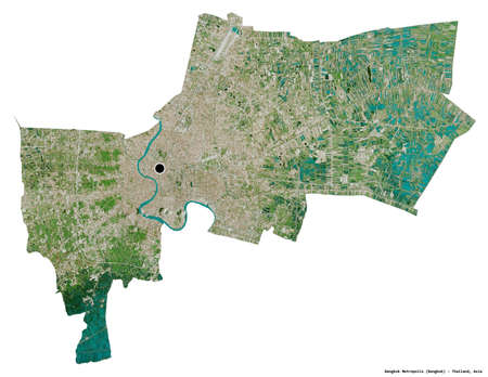 Shape of Bangkok Metropolis, province of Thailand, with its capital isolated on white background. Satellite imagery. 3D rendering