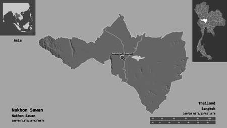 Shape of Nakhon Sawan, province of Thailand, and its capital. Distance scale, previews and labels. Bilevel elevation map. 3D rendering