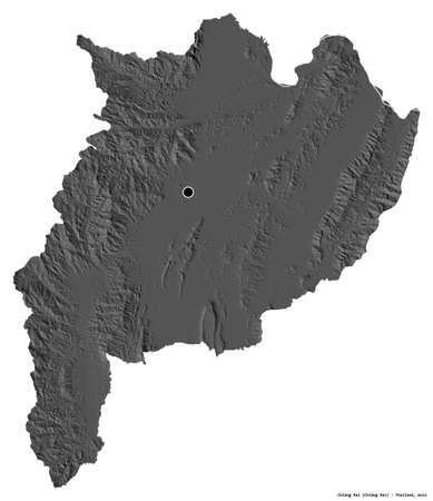 Shape of Chiang Rai, province of Thailand, with its capital isolated on white background. Bilevel elevation map. 3D rendering