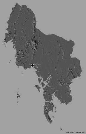Shape of Krabi, province of Thailand, with its capital isolated on a solid color background. Bilevel elevation map. 3D rendering