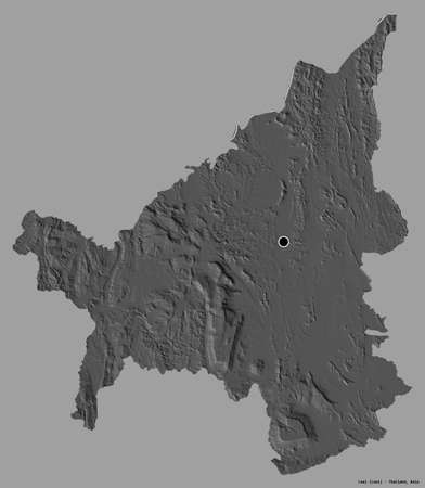 Shape of Loei, province of Thailand, with its capital isolated on a solid color background. Bilevel elevation map. 3D rendering