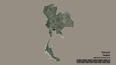 Desaturated shape of Thailand with its capital, main regional division and the separated Maha Sarakham area. Labels. Satellite imagery. 3D rendering
