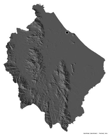 Shape of Narathiwat, province of Thailand, with its capital isolated on white background. Bilevel elevation map. 3D rendering